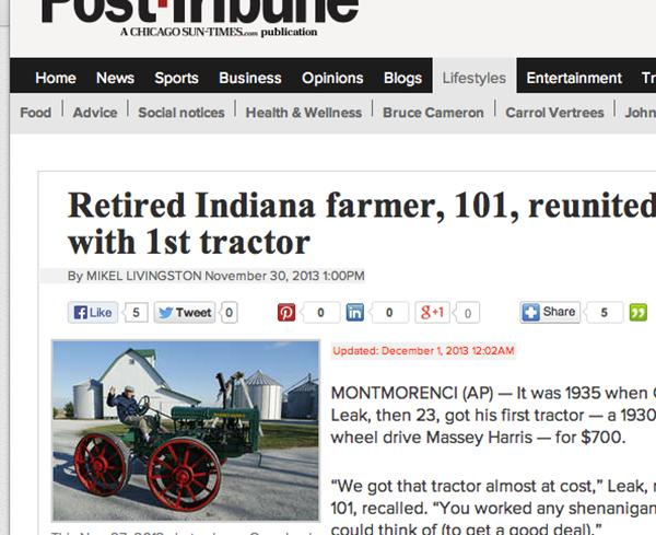 101-åring återfick traktorn han sålde 1937…