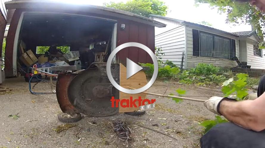 FLISMASKIN byggd av gammal gräsklippare!!!