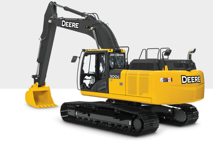 Vässad John Deere-grävare