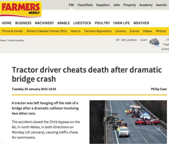 Änglavakt vid traktorkrasch på bro