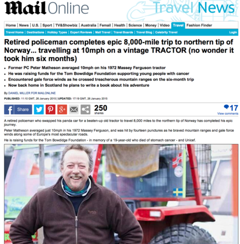 Peter gjorde 1 287-mils traktortur