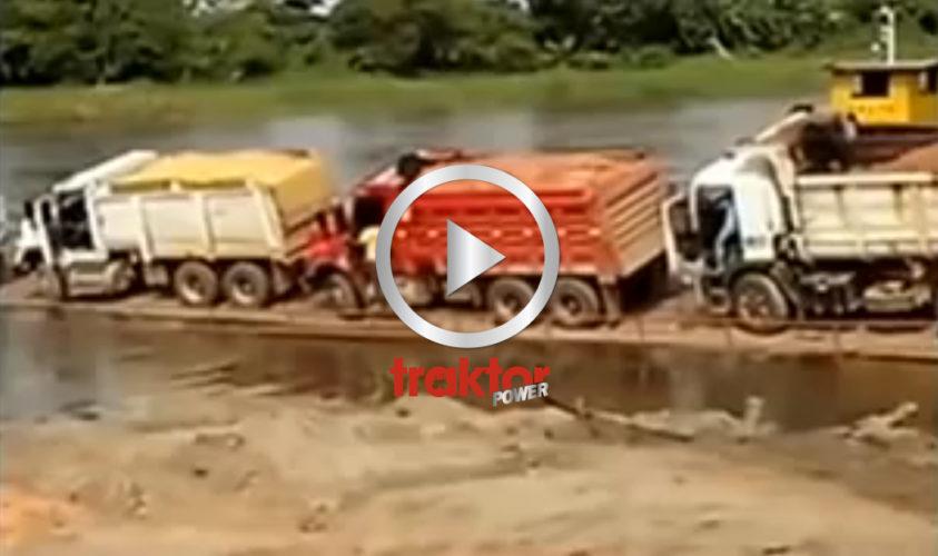 Hur man välter ner fyra lastbilar i plurret!!