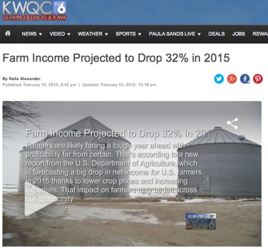USA-bönders inkomster neråt 2015