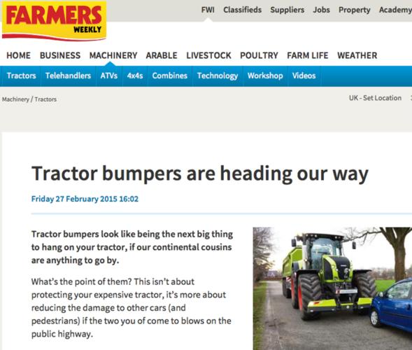 Medtrafikanter får skydd av traktorkofångare