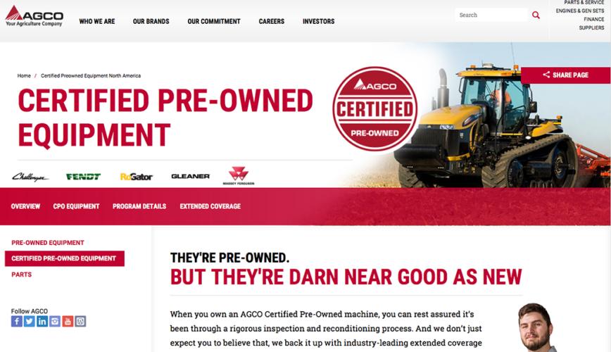 Agco-webbplats för begagnat