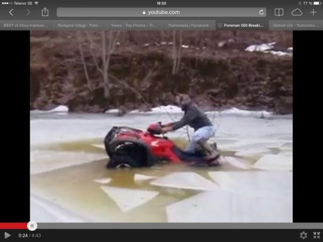 FYRHJULING brakar igenom isen!