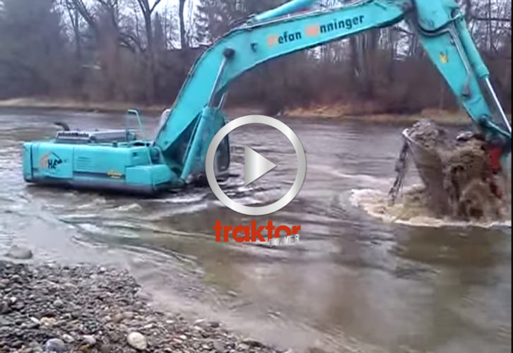 Grävare i floden!
