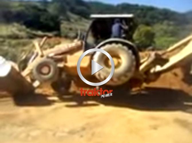 Föraren lägger grävaren upp-o-ned!