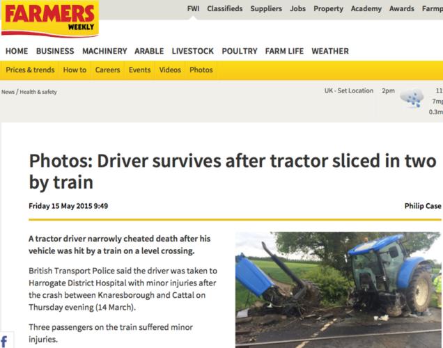 Tåget klöv traktorn mitt itu!