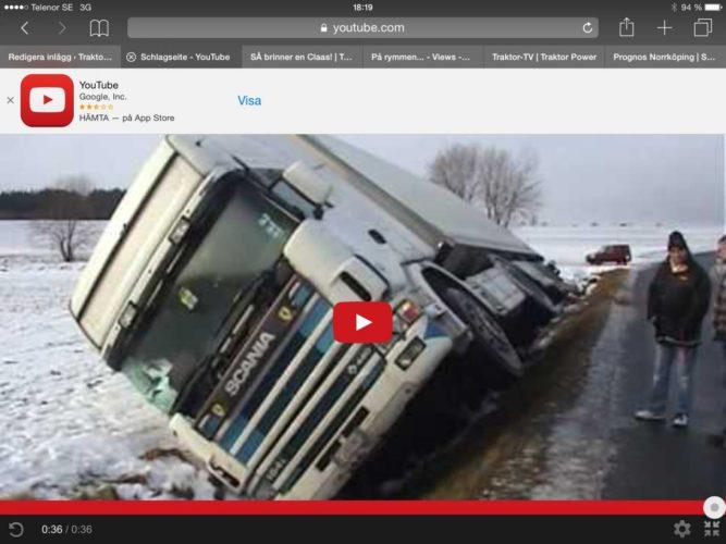 Trött Scania lägger sig o vilar!