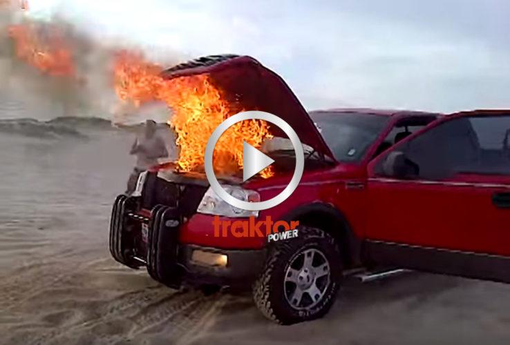 Bilen brinner! Släck!!!