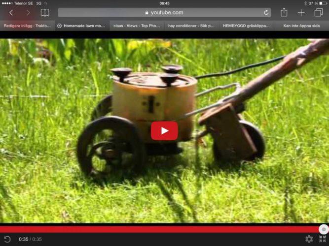 HEMBYGGD gräsklippare.
