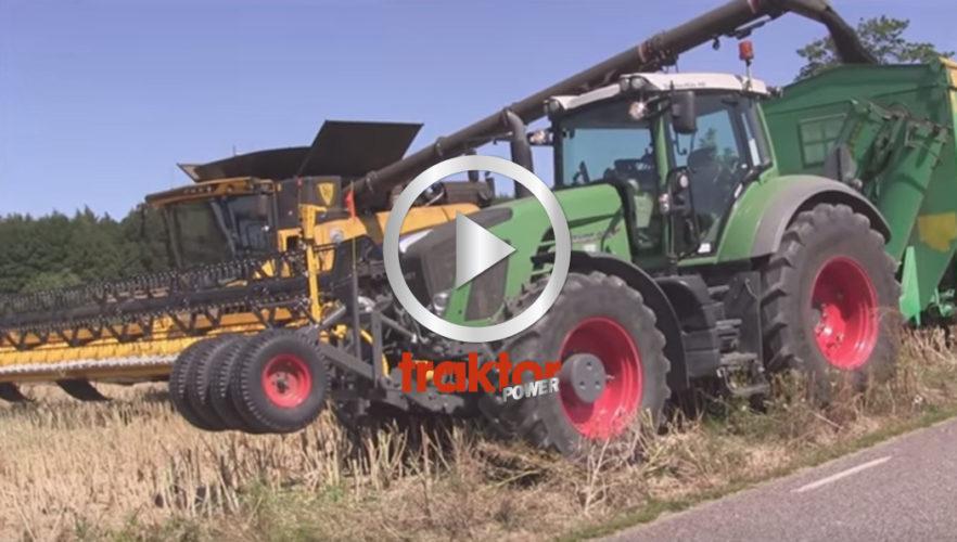 Traktorn som drar fältvagnen på Skabernäs har extrahjul framtill!