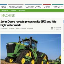 PRISET KLART. Australiska webbplatsen weeklytimesnow.com.au rapporterar att nya största John Deeren 9620RX kommer att kosta motsvarande 4,1 miljoner kronor i Australien. I USA uppger agriculture.com att priset för de amerikanska bönderna blir motsvarande 4,8 miljoner kronor.