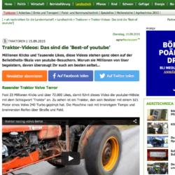 HÖGST UPP. Gotlänningen Rickard Nilsson sopar rent när tyska agrarheute.com listar Youtubes traktorvideosuccéer.