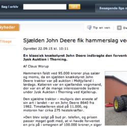 PÅ DANSK AUKTION. Midjestyrda John Deere 8640 gick för motsvarande 118 500 svenska kronor vid en auktion i danska Thorning.
