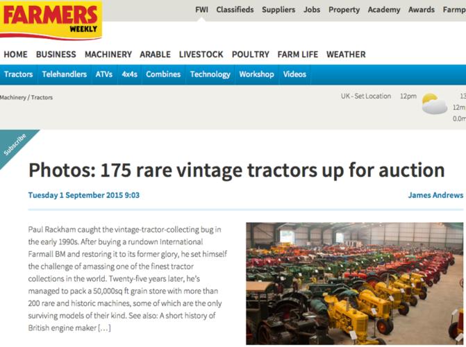 UNDER KLUBBAN. Hela 175 superintressanta veterantraktorer i Norfolk, England, söker nya ägare nu på lördag.