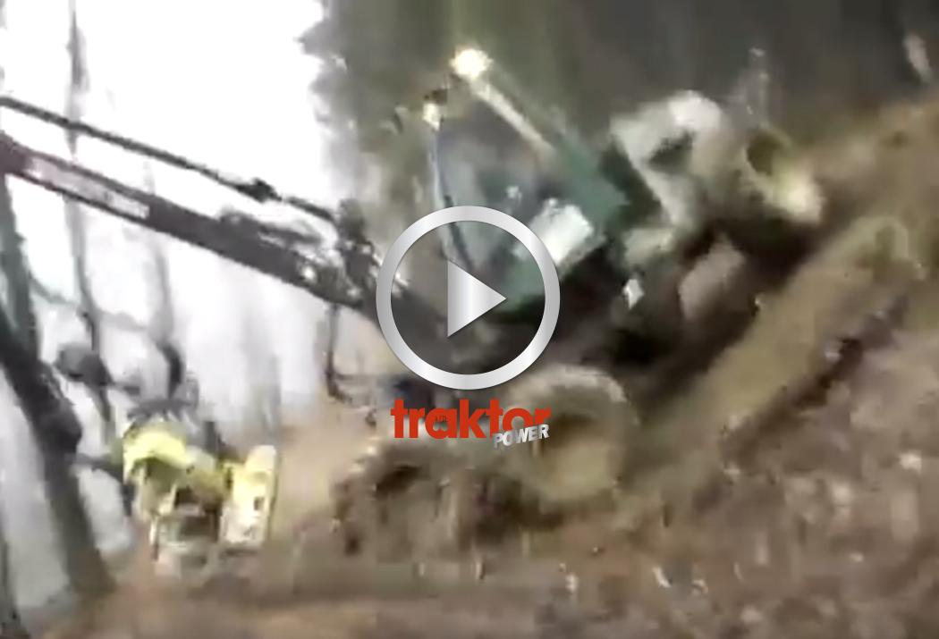 Hur slutar det här fallet för Timberjack-föraren???? Skotare på glid i brant sluttning!