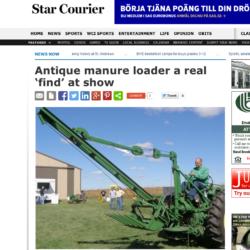 RARITET. En sällsynt John Deere linmanövrerad bakmonterad fastgödsellastare dök häromveckan upp på en mässa i Atkinson, USA.