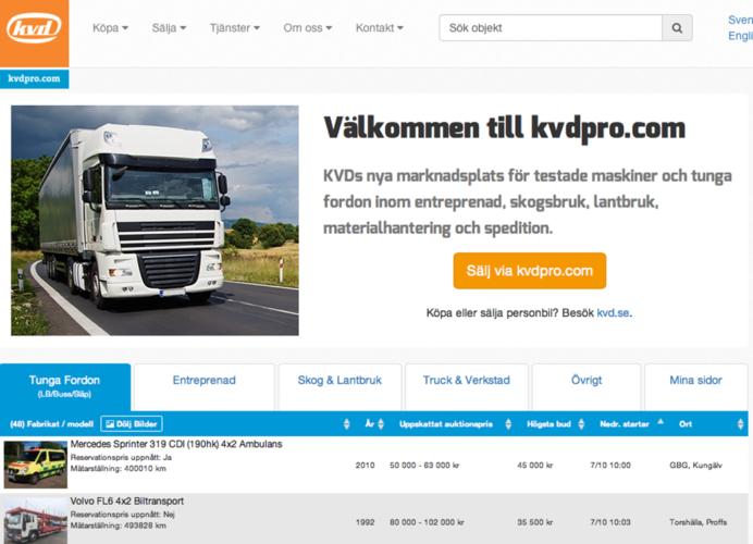 NY AUKTIONSPLATS. KVD drar igång en webbplats inriktad på tunga fordon främst inom entreprenad samt skogs- och lantbruk.