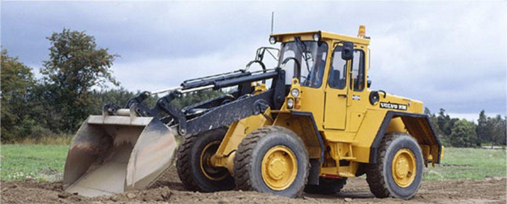 L70B STALS. Maskinen som stals i Västerbotten var en Volvo BM L70B (fordonet i bild har inget med denna händelse att göra) med pallgafflar på lastaren.