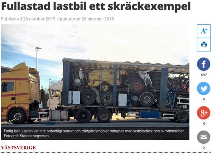 Stoppad lastbil med maskindelar!!!