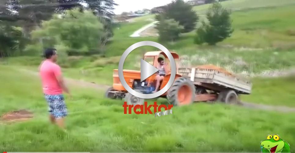 Ibland är det inte så lätta att få stopp på traktorn!!! BROMSA!