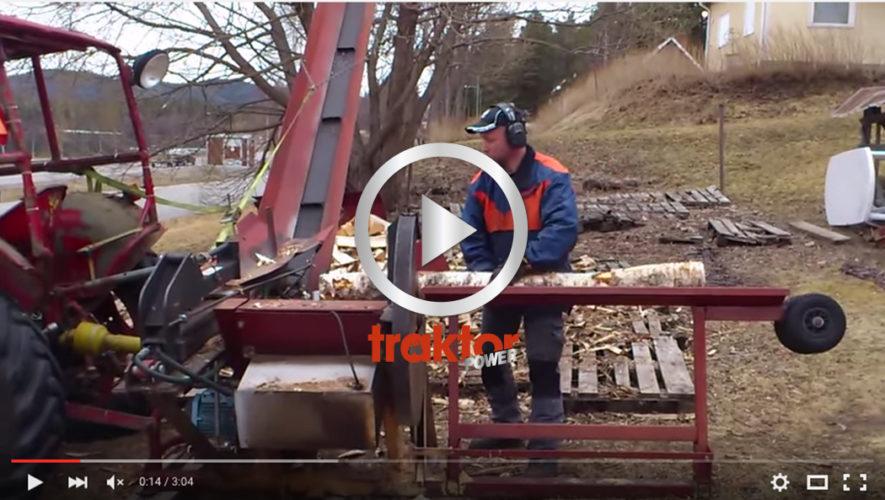 Här är den hemmabygga vedmaskinen i Hammarstrand.