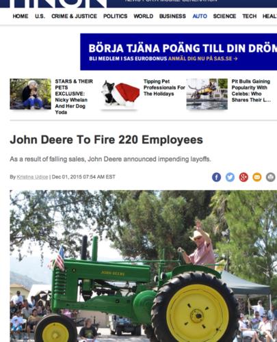 UPPSÄGNINGAR. Vid John Deeres tillverkning av såmaskiner, bland annat, i Moline, Illinois, USA, säger företaget upp 220 anställda.