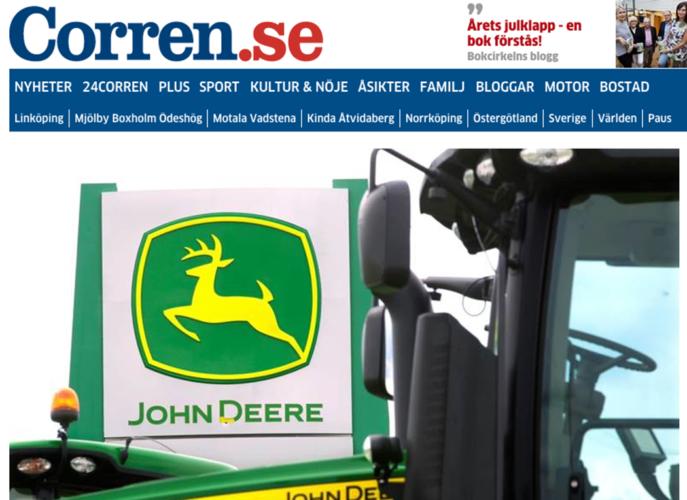STÖLDBEGÄRLIG. En liga, specialiserad på att stjäla relativt nya John Deere-traktorer tros operera i Östergötland, enligt corren.se.