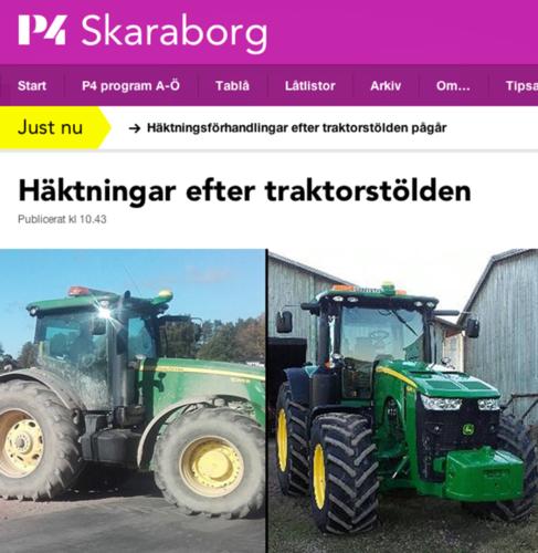 FORTFARANDE BORTA. De traktorer som stals utanför Skövde i fredags är fortfarande borta. Däremot återfanns en hjullastare värd en halv miljon kronor vid polisens tillslag mot de misstänkta maskintjuvarna. Två män greps och är i eftermiddag föremål för häktningsförhandlingar.