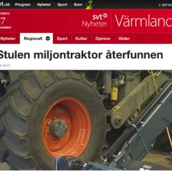 SVT-NYHET. John Deere 6150R-stölden i Karlstad i tisdags fick sin upplösning igår när maskinen återfanns bara en kort sträcka från Värmdal där den stals.