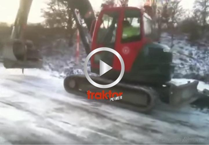 Det är väldigt isigt och glatt för grävaren!!!