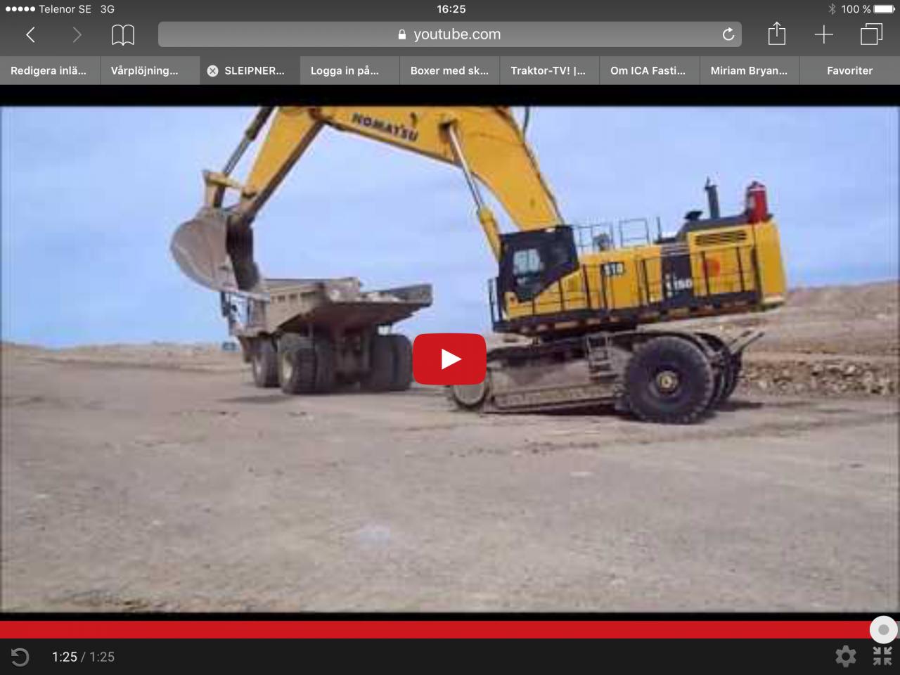 Så transporteras du en stor grävare!!!