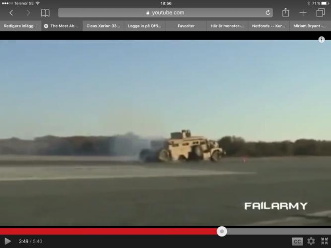 Så bromsar en militärlastbil!