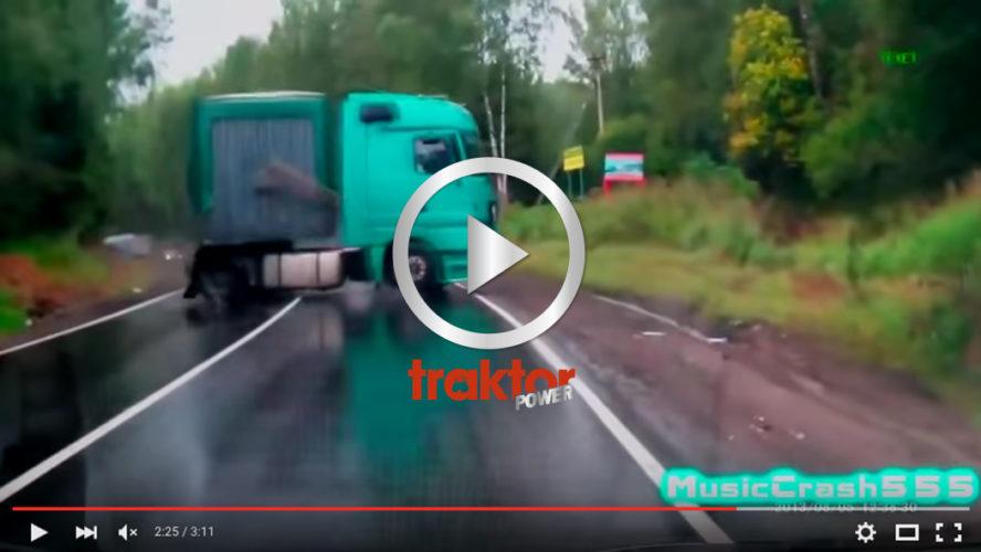 En lastbil kommer emot dig med sladd!!!! Vad gör du?