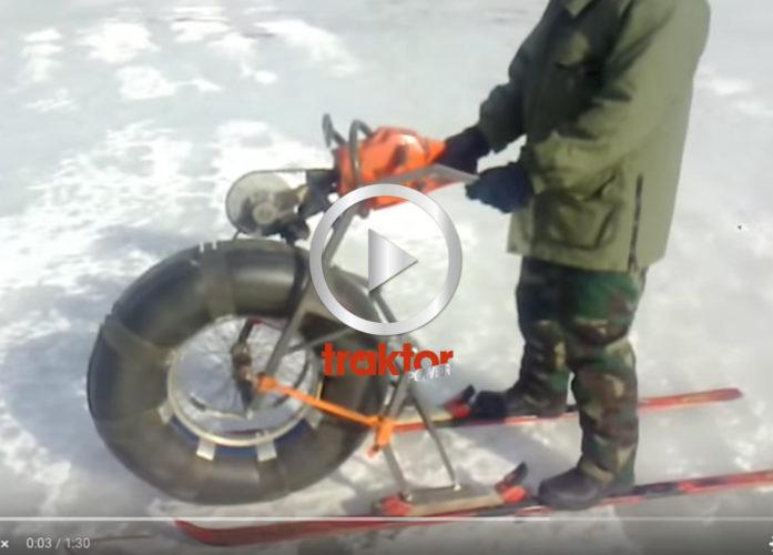 Hembyggd enhjuling med motor från en motorsåg!