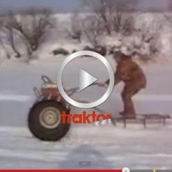 Kolla hur det funkar att hänga bakom den här maskinen med skidor!