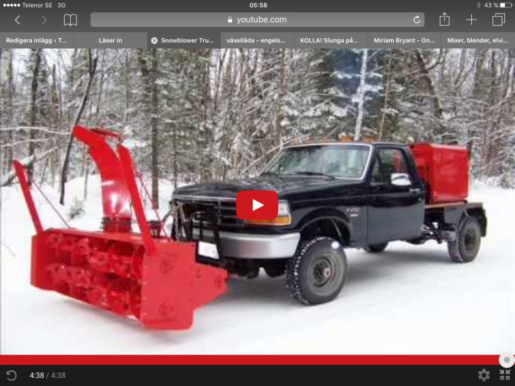 Pickup med stor snöslunga!