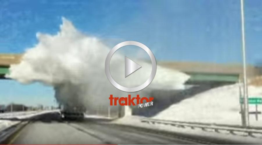 Vad händer om du kör för nära en lastbil med snö på kapellets tak?