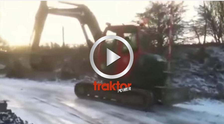 Hur stoppar man en grävare som glider så här fort?