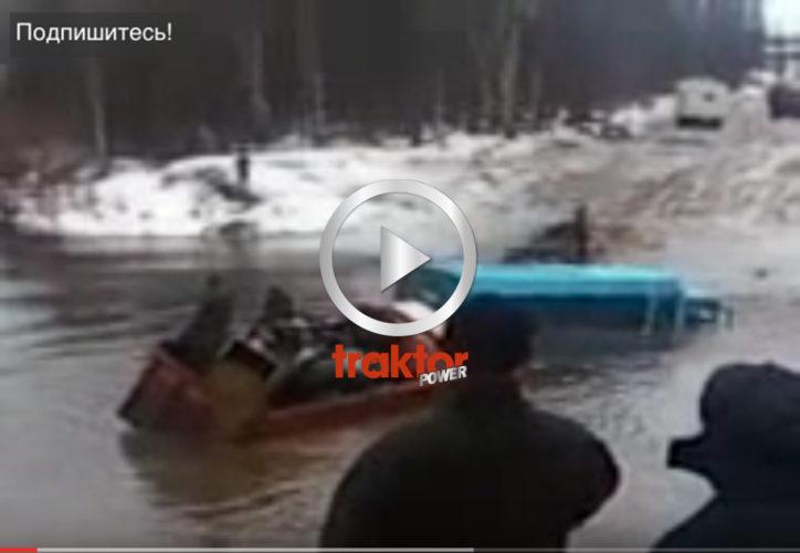 SÅ kör man lastbil över en stor flod i Ryssland. TUR att lastbilen har livlina!