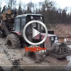 Skotning i våta marker med jordbrukstraktor! Belarus!