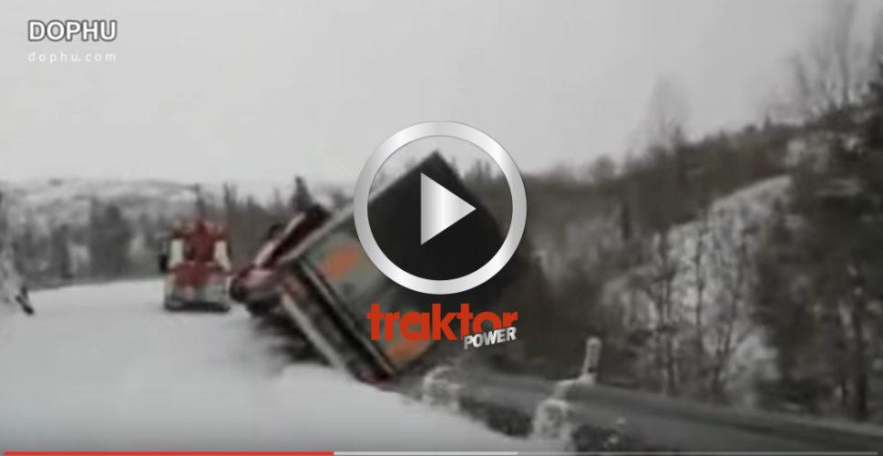 Hur går det för lastbilen på den hala norska vintervägen?