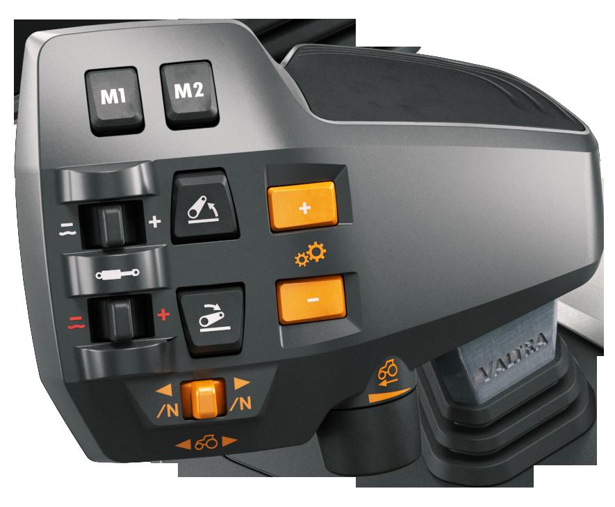 Den nya multifunktionella körspaken med programmerbara funktionsknappar, allt i ett grepp. Med sin vertikala placering, möjlighet att flyttas i sidled och smarta detaljer, erbjuder körspaken en enkel, ergonomisk och säker användning.